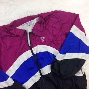 Vintage Windbreaker Plus Size Pink Blue Black